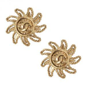 Shop Chanel Vintage Jewellery Online India Chanel Vintage Sundance CC Clip Earrings 1994