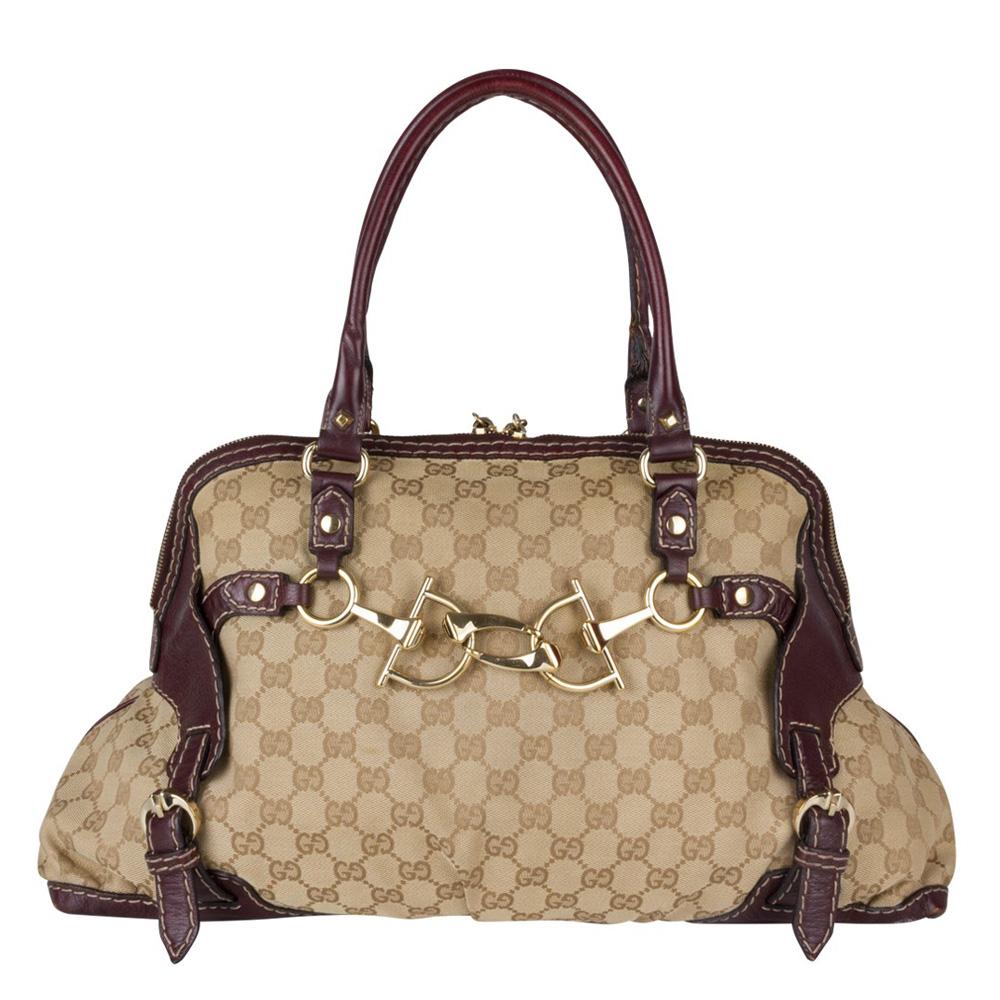 715f6d23ba0 ... Gucci Monogram Canvas Medium Horsebit Nail Boston Bag