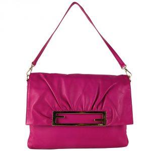 Fendi Fuchsia Napa Shoulder Handbag