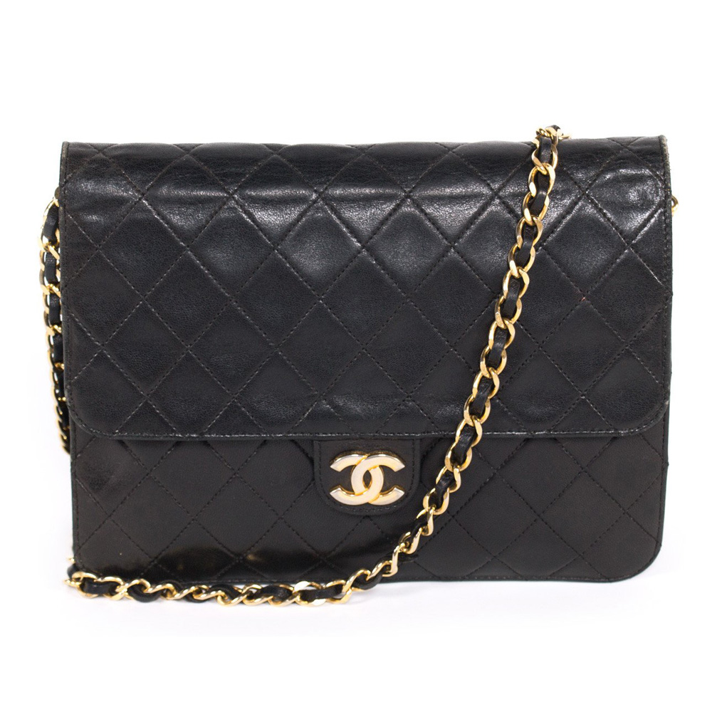 82d354699fe7 CHANEL VINTAGE BLACK QUILTED LEATHER CLASSIC SQUARE FLAP HANDBAG -