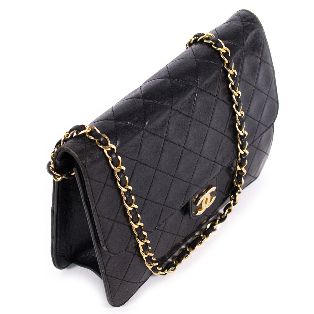 69127b756ea6 CHANEL VINTAGE BLACK QUILTED LEATHER CLASSIC SQUARE FLAP HANDBAG -