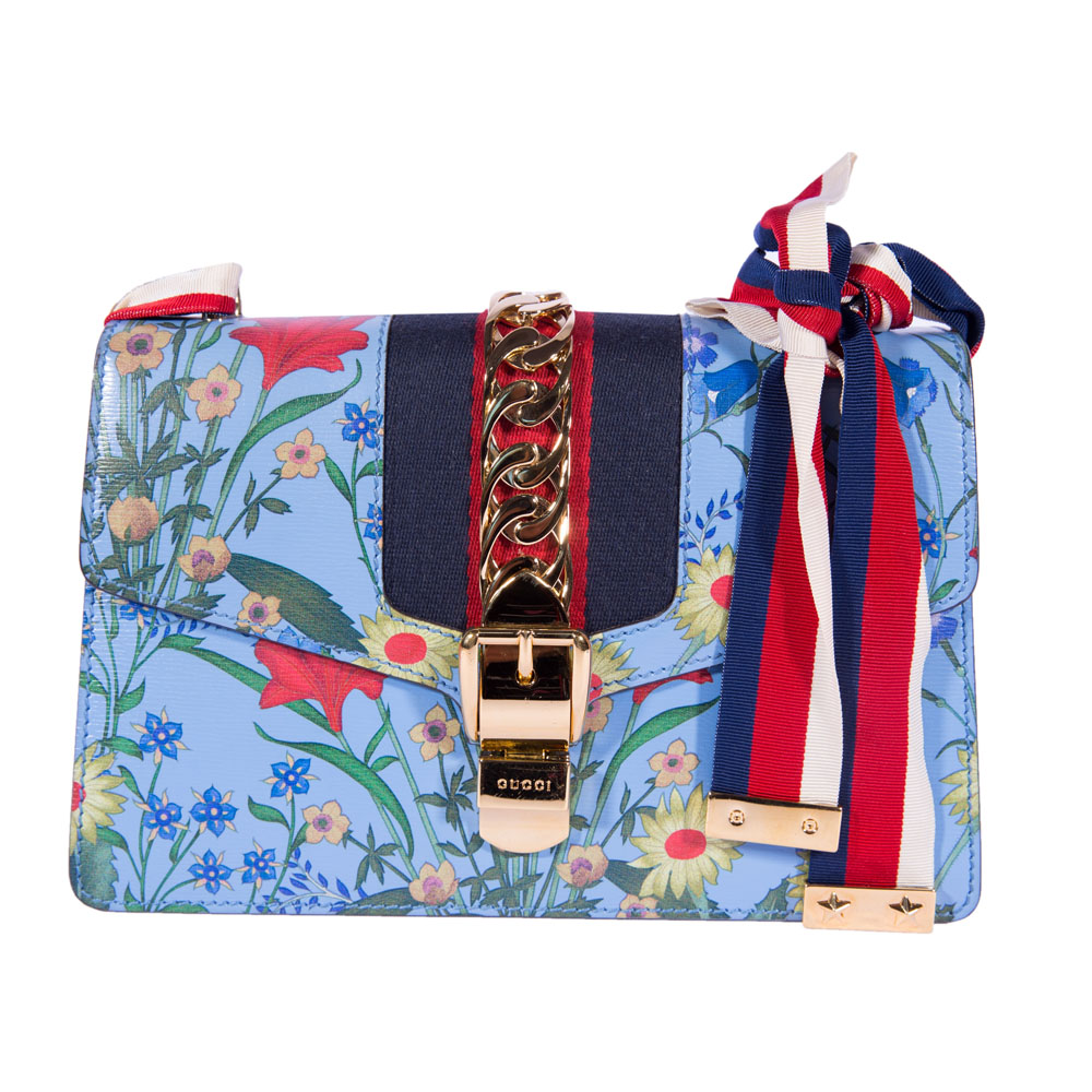 6c5224545 GUCCI BLUE SMALL SYLVIE SHOULDER HANDBAG -