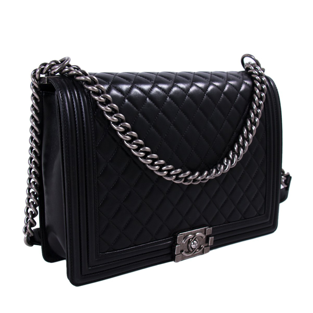 CHANEL LARGE BLACK QUILTED LEATHER LARGE BOY BAG - f7ea86fc4dc37