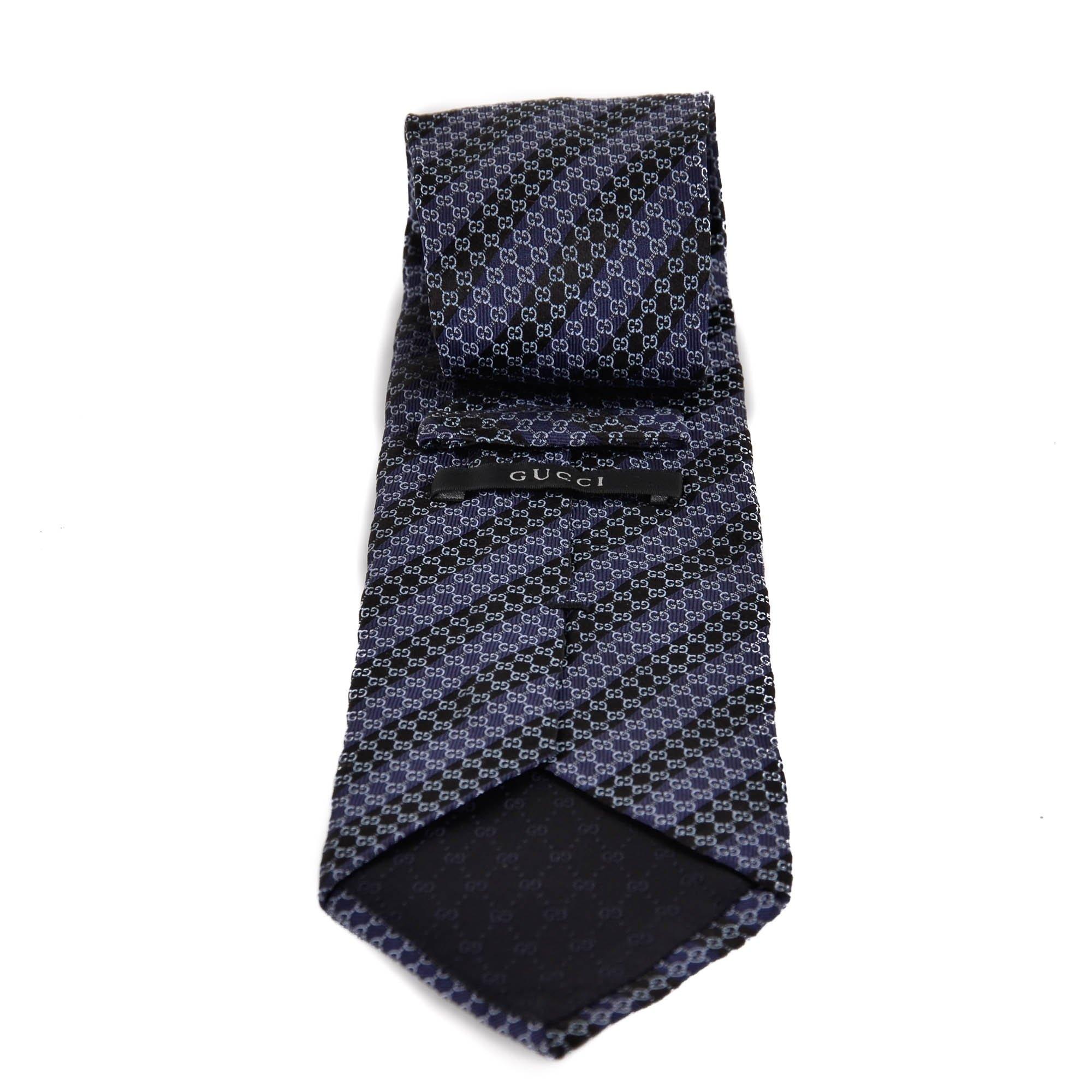 032dbbd5ca241 Gucci Striped Dark Blue GG Silk Tie -